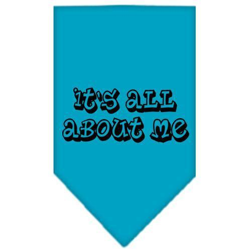 It's All About Me Screen Print Bandana Turquoise Small-it s all about me screen print bandana-Bella's PetStor