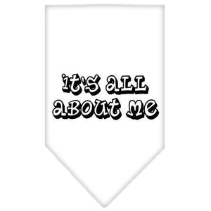 It's All About Me Screen Print Bandana White Large-it s all about me screen print bandana-Bella's PetStor
