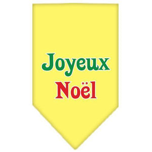 Joyeux Noel Screen Print Bandana Yellow Large-joyeux noel screen print bandana holiday pet products-Bella's PetStor