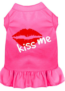 Kiss Me Screen Print Dress Bright Pink-Dog Clothing-Bella's PetStor