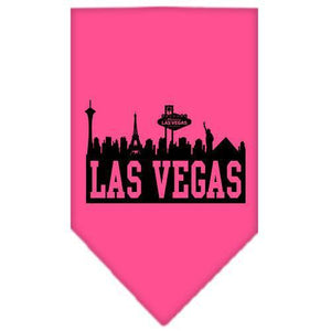 Las Vegas Skyline Screen Print Bandana Bright Pink Large-Las vegas skyline screen print bandana new pet products-Bella's PetStor