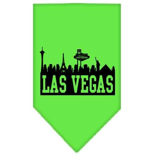 Las Vegas Skyline Screen Print Bandana Lime Green Large-Las vegas skyline screen print bandana new pet products-Bella's PetStor