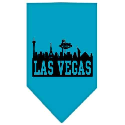 Las Vegas Skyline Screen Print Bandana Turquoise Small-Las vegas skyline screen print bandana new pet products-Bella's PetStor