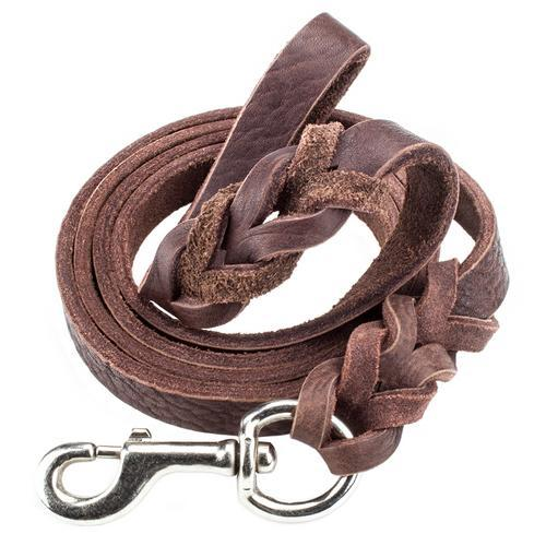 Leash, 6-foot Braided Leather-Pet leashes-Bella's PetStor