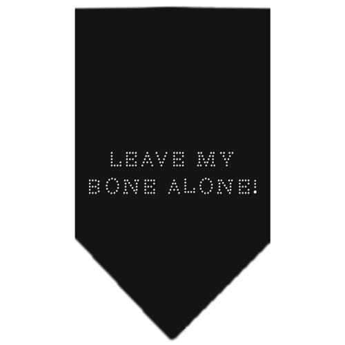 Leave My Bone Alone Rhinestone Bandana Black Small-Leave my bone alone rhinestone bandana-Bella's PetStor