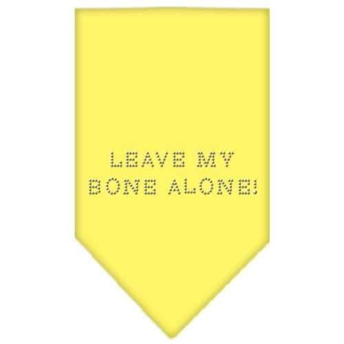 Leave My Bone Alone Rhinestone Bandana Yellow Small-Leave my bone alone rhinestone bandana-Bella's PetStor