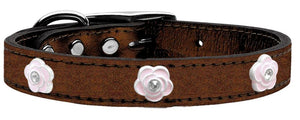 Light Pink Rose Widget Genuine Metallic Leather Dog Collar-New!-Bella's PetStor