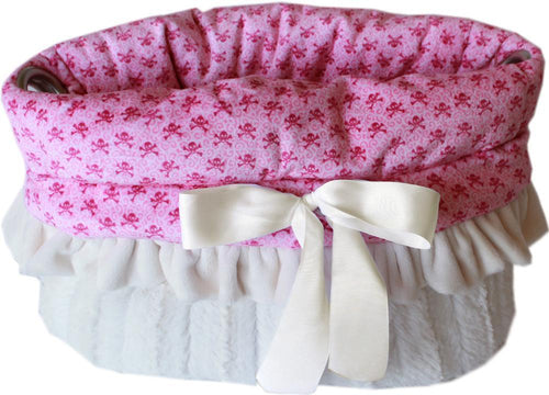 Light Pink Skulls Reversible Snuggle Bugs Pet Bed, Bag, And Car Seat All-in-one-New!-Bella's PetStor