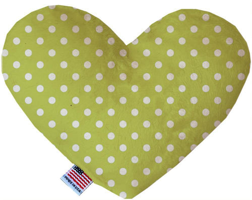 Lime Green Polka Dots Inch Canvas Heart Dog Toy-Made in the USA-Bella's PetStor
