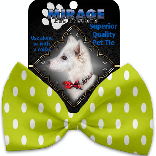 Lime Green Polka Dots Pet Bow Tie Collar Accessory With Velcro-Bow Ties-Bella's PetStor