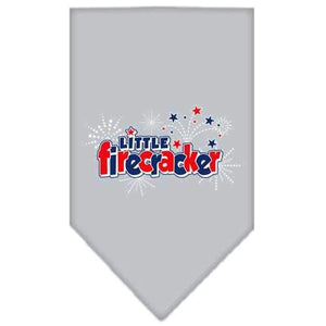 Little Firecracker Screen Print Bandana Grey Small-little firecracker screen print bandana patriotic pet supplies-Bella's PetStor