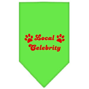 Local Celebrity Screen Print Bandana Lime Green Large-local celebrity screen print bandana-Bella's PetStor