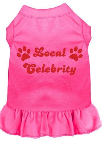 Local Celebrity Screen Print Dress Bright Pink-Dog Clothing-Bella's PetStor