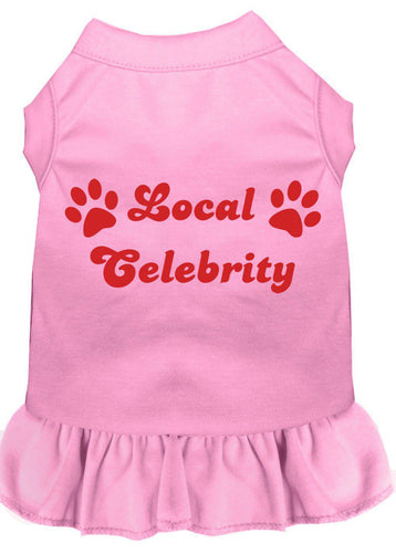 Local Celebrity Screen Print Dress Light Pink-Dog Clothing-Bella's PetStor