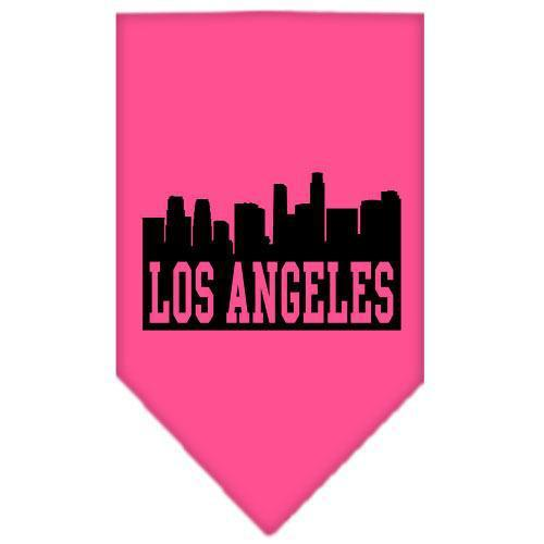 Los Angeles Skyline Screen Print Bandana Bright Pink Large-Los angeles skyline screen print bandana new pet products-Bella's PetStor