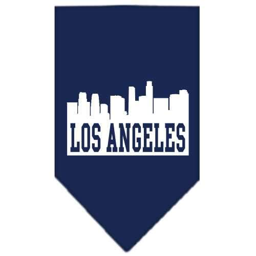 Los Angeles Skyline Screen Print Bandana Navy Blue large-Los angeles skyline screen print bandana new pet products-Bella's PetStor