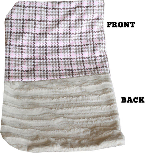 Luxurious Plush Carrier Blanket Pink Plaid-Bedding-Bella's PetStor