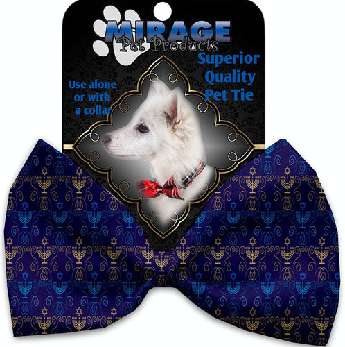 Menorah Madness Pet Bow Tie Collar Accessory With Velcro-Bow Ties-Bella's PetStor