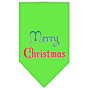 Merry Christmas Screen Print Bandana Lime Green Small-Christmas, Hannukah-Bella's PetStor