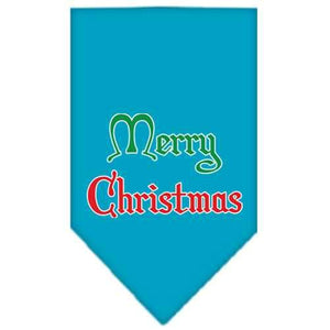 Merry Christmas Screen Print Bandana Turquoise Small-Christmas, Hannukah-Bella's PetStor