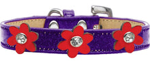 Load image into Gallery viewer, Metallic Flower Ice Cream Collar Purple With Metallic Flowers Size-Dog Collars-Bella's PetStor