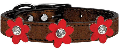 Metallic Flower Leather Collar Bronze With Metallic Flowers Size-Dog Collars-Bella's PetStor