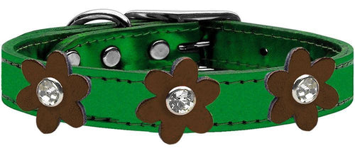 Metallic Flower Leather Collar Metallic Emerald Green With Metallic Flowers Size-Dog Collars-Bella's PetStor