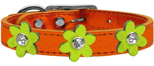 Metallic Flower Leather Collar Metallic Orange With Metallic Flowers Size-Dog Collars-Bella's PetStor