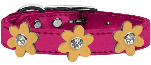 Metallic Flower Leather Collar Metallic Pink With Metallic Flowers Size-Dog Collars-Bella's PetStor