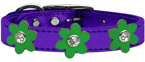 Metallic Flower Leather Collar Metallic Purple With Metallic Flowers Size-Dog Collars-Bella's PetStor