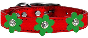 Metallic Flower Leather Collar Metallic Red With Metallic Flowers Size-Dog Collars-Bella's PetStor