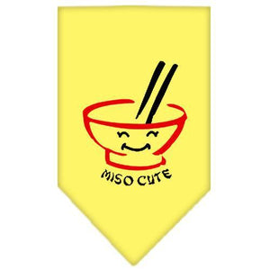 Miso Cute Screen Print Bandana Yellow Small-miso cute screen print bandana-Bella's PetStor