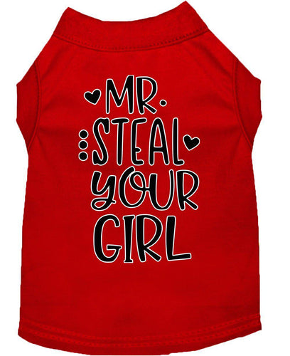 Mr. Steal Your Girl Screen Print Dog Shirt-Valentines-Bella's PetStor