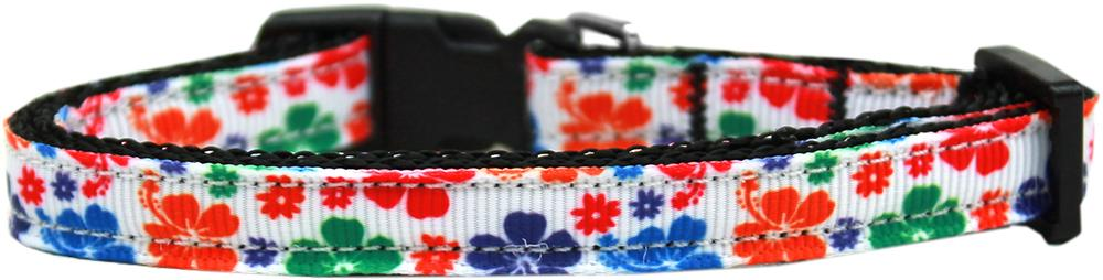 Multi-colored Hawaiian Hibiscus Nylon Ribbon Dog Collar-Dog Collars-Bella's PetStor