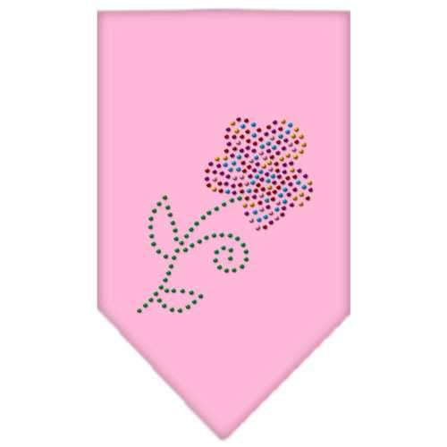 Multi Flower Rhinestone Bandana Light Pink Small-Multi flower rhinestone bandana-Bella's PetStor