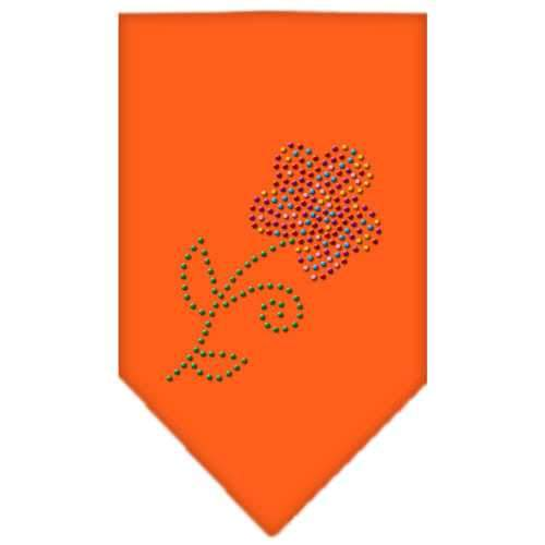 Multi Flower Rhinestone Bandana Orange Large-Multi flower rhinestone bandana-Bella's PetStor