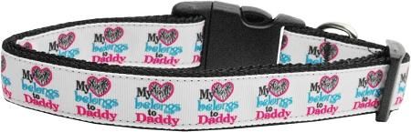 My Heart Belongs To Daddy Nylon Dog Collar Medium Narrow-Dog Collars-Bella's PetStor