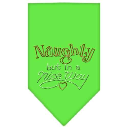 Naughty but in a Nice Way Rhinestone Bandana Lime Green Large-Naughty but in a nice way rhinestone bandana-Bella's PetStor