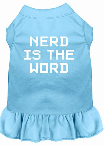 Nerd Is The Word Screen Print Dress Baby Blue-Dog Clothing-Bella's PetStor