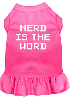 Nerd Is The Word Screen Print Dress Bright Pink-Dog Clothing-Bella's PetStor
