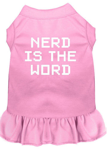 Nerd Is The Word Screen Print Dress Light Pink-Dog Clothing-Bella's PetStor