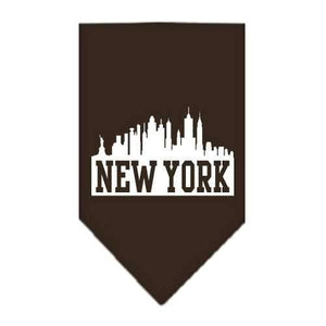 New York Skyline Screen Print Bandana Cocoa Small-New york skyline screen print bandana-Bella's PetStor