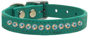 One Row Ab Jeweled Leather-Dog Collars-Bella's PetStor