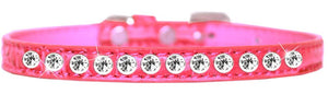 One Row Clear Jewel Croc Dog Collar Size-Faux Croc Collection-Bella's PetStor