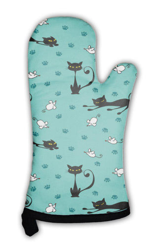 Oven Mitt, Cute Cats And Mice Pattern-Oven Mitt-Bella's PetStor