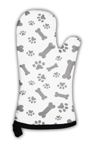 Oven Mitt, Dog Bones And Paws Pattern-Oven Mitt-Bella's PetStor