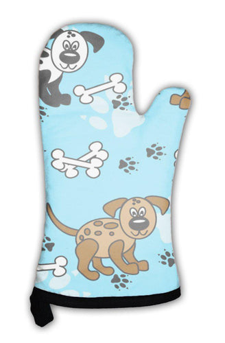 Oven Mitt, Dogs And Bones Borders Over Blue-Oven Mitt-Bella's PetStor