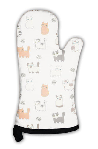 Oven Mitt, Funny Cartoon Cats Pattern-Oven Mitt-Bella's PetStor