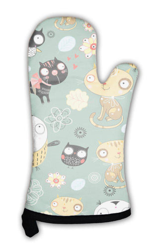 Oven Mitt, Pattern Of Cats And Owls-Oven Mitt-Bella's PetStor