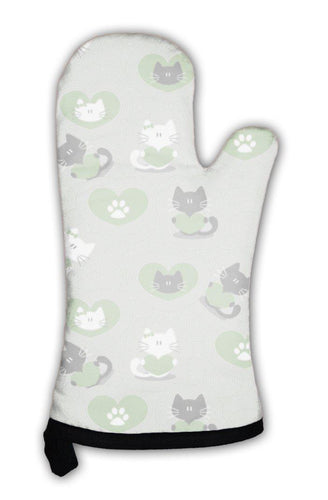 Oven Mitt, Romantic Pattern With Cute Kittens In Love-Oven Mitt-Bella's PetStor